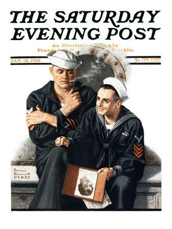 """""""Thinking of the Girl Back Home"""" Saturday Evening Post Cover, January 18,1919"""