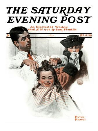 """First Haircut"" Saturday Evening Post Cover, August 10,1918"