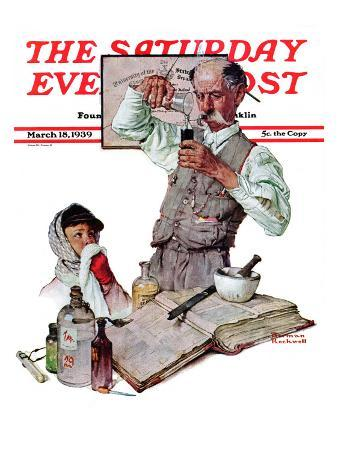 """""""Pharmacist"""" Saturday Evening Post Cover, March 18,1939"""