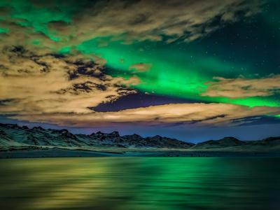Cloudy Evening with Aurora Borealis or Northern Lights, Kleifarvatn, Iceland