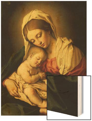Giovanni Battista Salvi Madonna and child Vintage Print