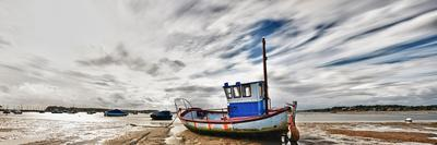 Panoramic View of Fishing Boat Stranded at Low Tide in Poole,Dorset