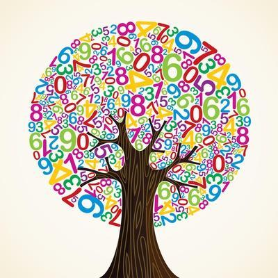 School Education Concept Tree Made with Numbers