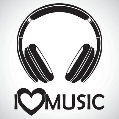 """Headphones Logo Icon """"I Love Music"""" I for the Creative Use in Graphic Design"""