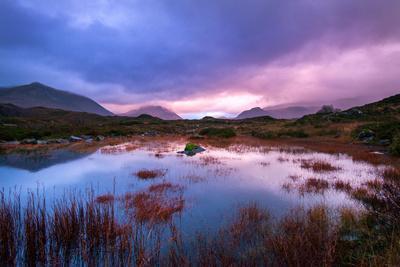 Sunset on a Lochan at Sligachan on the Isle of Skye, Scotland UK