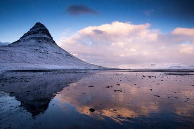 Winter at Kirkjufell Mountain on the Snaefellsnes Peninsula in Iceland