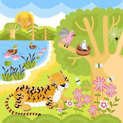 Vector Animals on the Forest