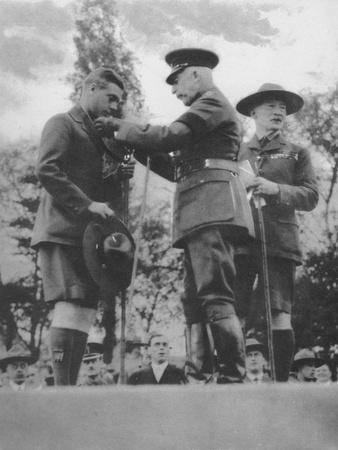 The Prince of Wales being invested with the Silver Wolf by the Duke of Connaught, 1922 (1936)