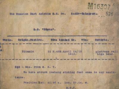 Titanic - Iceberg Telegram, 1912