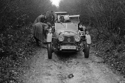 Riley Brooklands 2-seater sports of JE Lancaster taking part in the Inter-Varsity Trial, 1930
