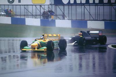 Benetton B193A Michael Schumacher and K.Wendlinger in Sauber Ilmor 1993 Euro GP at Donington