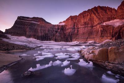 Fragments of Recently Calved Ice Float at the Foot of Grinnell Glacier
