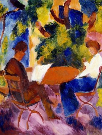 Paar am Gartentisch. Couple at the garden table