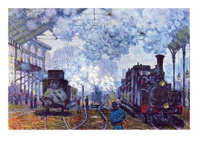 Saint Lazare Station in Paris, Arrival of a Train