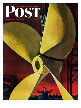 """""""Ships Propeller,"""" Saturday Evening Post Cover, February 26, 1944"""