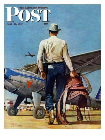 """Flying Cowboy,"" Saturday Evening Post Cover, May 17, 1947"