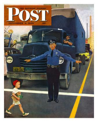 """""""Traffic Cop,"""" Saturday Evening Post Cover, September 3, 1949"""