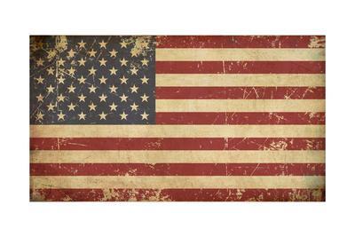 Usa Aged Flat Flag