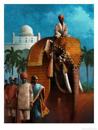 Indian Man Riding Elephant