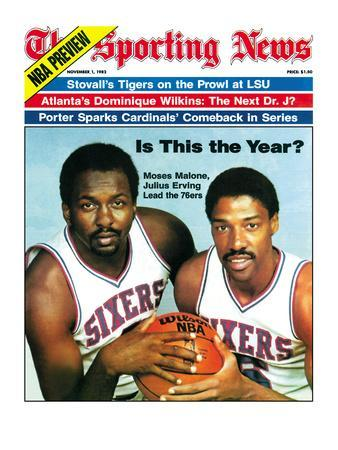 Philadelphia 76ers Moses Malone and Julius Erving - November 1, 1982