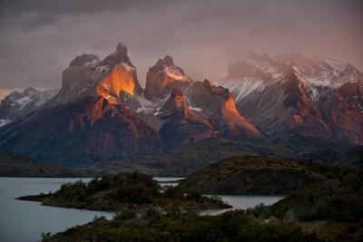 Dawn Over Mountains and Lago Pehoe in Torres Del Paine National Park