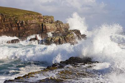Waves Crashing over Rocks, Coastline Near Point of Stoer, Assynt, Sutherland, Nw Scotland, UK