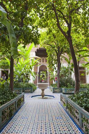 El Bahia Palace Courtyard, Marrakech, Morocco, North Africa, Africa
