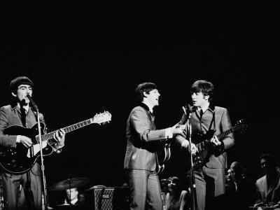 Pop Music Group the Beatles in Concert George Harrison, Paul McCartney, John Lennon