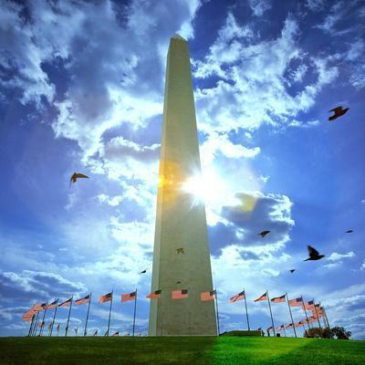 Low Angle View of the Washington Monument, the Mall, Washington Dc, USA