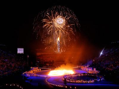 Fireworks Erupt During the Opening Ceremonies of the 2002 Winter Olympics in Salt Lake City