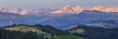 Emmental Valley and Swiss Alps in the Background, Berner Oberland, Switzerland