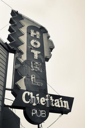 Neon Sign for the Chieftain Hotel and Pub, Squamish, British Columbia, Canada
