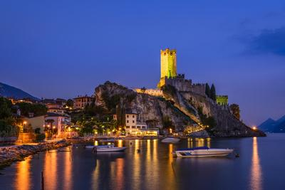 Italy, Veneto, Lake Garda, Malcesine, Townscape with Scaliger Castle
