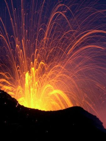Lava Bursts from Mount Etna, Near Nicolosi, Italy, Wednesday July 25, 2001