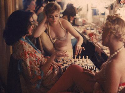 Showgirls Playing Chess Between Shows at Latin Quarter Nightclub