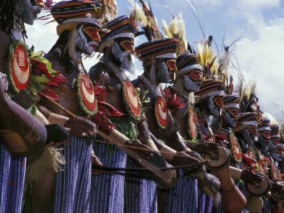 Highlands Warrior Marching Performance at Sing Sing Festival, Papua New Guinea
