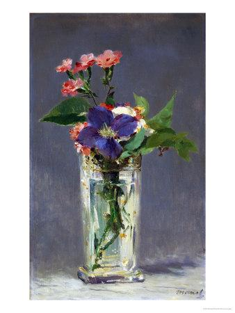 Carnations and Clematis in a Crystal Vase, 1882