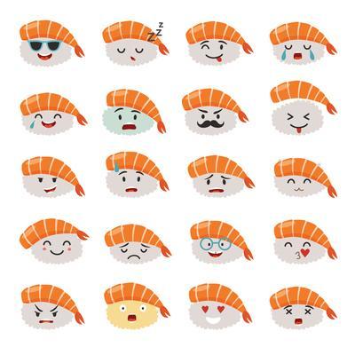 Sashimi Emoji Vector Set. Emoji Sushi with Faces Icons. Sushi Roll Funny Stickers. Food Cartoon Sty