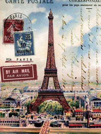 Eiffel Tower, French Vintage Postcard Collage