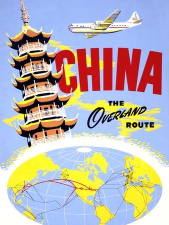 """China the Overland Route"" Vintage Travel Poster"