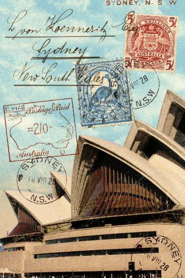 sydney opera house australia vintage postcard collage prints by