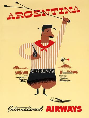 """""""Argentina"""" Vintage Travel Poster, International Airways"""