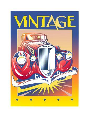 Collectors Car with Sign 'Vintage' Above