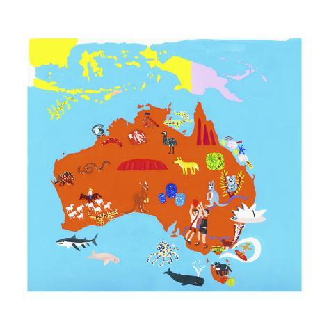 Paper Laminated A0 Illustrated Map of Australia