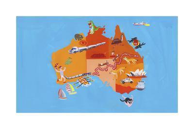 Illustrated Tourism Map of Australia and Tasmania
