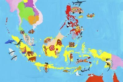 Illustrated Map of Southeast Asia