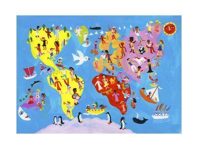 Illustrated World Map of People Enjoying Having Fun