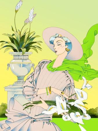 Glamorous Woman Carrying Flowers in Garden