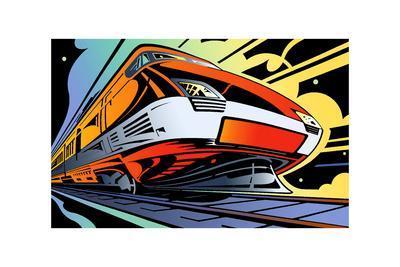 Train Speeding on Black