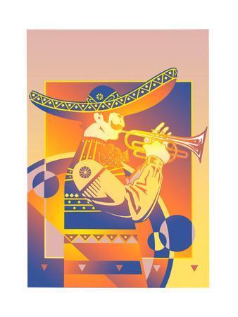 Trumpet Player in Sombrero